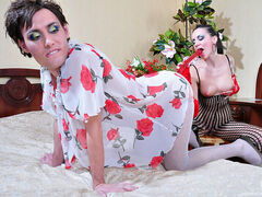 Evelina&Jack female clothed strapon couple